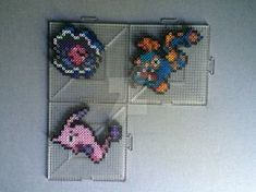 #366-#368 Clamperl Family Perlers by TehMorrison