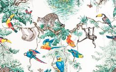 the Equateur wallpaper design here is based on a scarf designed by the wildlife illustrator Robert Dallet for Hermès in 1988