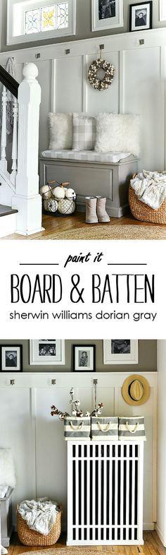 Board and Batten Entry - Sherwin Williams Dorian Gray - Mudroom with board and batten and gray paint