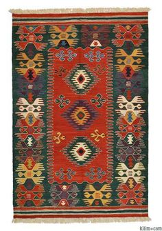 New Turkish Kilim Rug hand-woven in Turkey with vegetable-dyed and hand-spun wool.