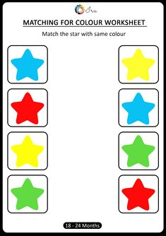 Check out this matching for colours worksheet for your month). This has been designed keeping in mind age-appropriateness and understanding of the child at this stage. Therefore we have introduced only 4 basic colours. Color Worksheets For Preschool, Preschool Colors, Kindergarten Math Worksheets, Preschool Printables, Kindergarten Colors, Matching Worksheets, Toddler Worksheets, Daycare Curriculum, Preschool Learning Activities