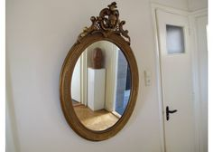 Französischer Viktorianischer Vergoldeter Ovaler Spiegel, 1900er  bei Pamono kaufen