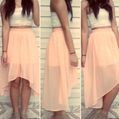 high-low skirt....I really love this style. it's perfect for me. i always have a probably with a skirt or dress being too short in the back.
