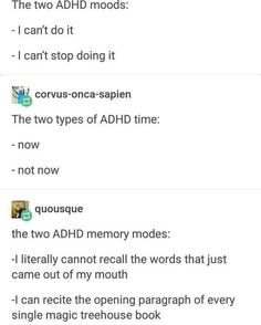 This gallery is short enough to keep your ADHD brain in check! This gallery is short enough to keep your ADHD brain in check! Adhd And Autism, Add Adhd, Tumblr Funny, Funny Memes, Funny Quotes, Hilarious, Memes Humor, Types Of Adhd, Adhd Funny