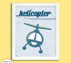 Retro Helicopter Poster - 8 x 10 Digital - Boy's Room Decoration on Etsy, $8.73 AUD