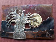 Baobab sunset. Copper  silver brass