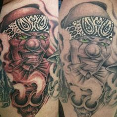 Gangster Clown Tattoo By Russell Fortier at Lucky 7 Tattoo-Tahoe