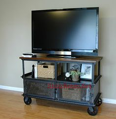 industrial, media center, tv stand