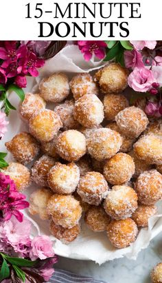 How to Make Homemade Donuts in 15 Minutes - Cooking Classy Homemade Donuts - these donut holes taste like the cake donuts you get at the local bakery, but you can make them at home in 15 minutes! Delicious Donuts, Delicious Desserts, Dessert Recipes, Yummy Food, Breakfast Recipes, Tasty, Easy Donut Recipe, Donut Recipes, Cooking Recipes