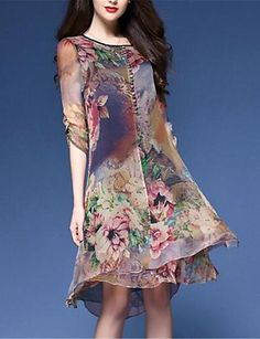 Women's Casual/Daily Plus Size Chinoiserie Loose Chiffon Dress,Floral Print Round Neck Knee-length Half Sleeves Nylon Spring Mid Rise 5007019 2017 – $12.59