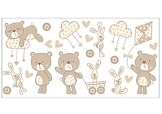 Fun4Walls WS40260 Bear and Boo Neutral Wall Stickers