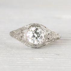 Vintage Edwardian .95 Carat Diamond Engagement by ErstwhileJewelry, $7500.00