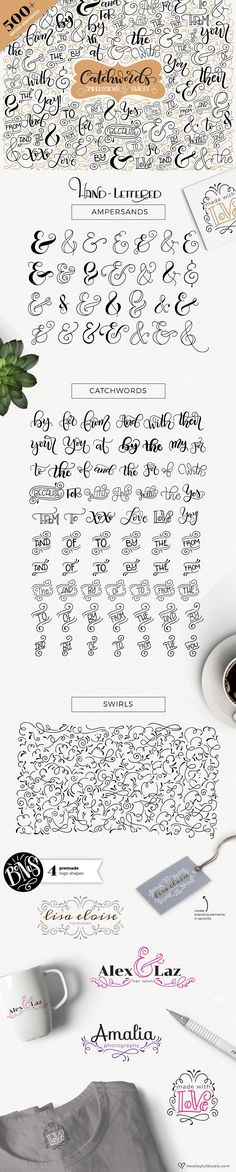 Hand lettered vector Catchwords, ampersands & swirls by howjoyful. Perfect to embellish any project, to use in invitations, Save the dates, logos, or anything you can imagine.
