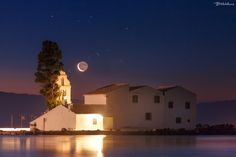 Moon meets Aldebaran above the monastery of Vlacherna, Corfu Corfu Grecia, Camara Canon Eos, The Half Sisters, 91 Days, The Pleiades, Instagram Feed, Instagram Posts, Light Year, Taurus