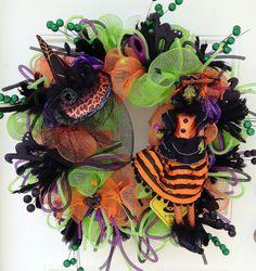 Halloween Deco Mesh Wreath by ViennaSparkleWreaths on Etsy, $125.00