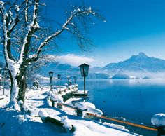Mondsee, Salzkammergut, Austria. About 20 minutes outside of Salzburg, this beautiful town is home to the Mondsee Cathedral, which was used as the wedding church in The Sound of Music, and a beautiful Christmas Market.