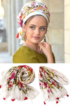 🌺👌This lovely, soft, handcrafted headscarf is an alluring combination of basic white and vibrant colors, specially adorned with additional red & white tassels. #headscarf #Inspire #HeadwrapsStyle #Turban #summerstyle #beautiful #beauty #fashion #style #love #jew #jewish #judaic #judaica #judaism #hebrew #hebrewlanguge #ashkenazi #religion #religious #israel #israeli #tichel #tichels #mitpachat #headcovering #modesty #beautiful #jewishwomen #mitpachat #scarves #headwrap #haircovering No Slip Headbands, Head Coverings, New Pins, Head Wraps, Compliments, Vibrant Colors, Red And White, Amazing, Hair
