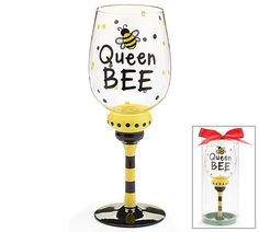 """Queen Bee wine glass with bee on front. 9 1/2""""H X 2 3/4"""" Opening. Holds 16 oz."""