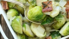 You'll love vegetables again in this easy Brussels sprout recipe flavored with ba