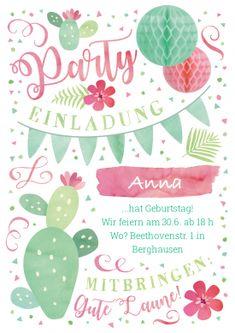 Tolle Kaktus-Einladungskarte in Rosa und Grün für große und kleine Geburtstagskinder