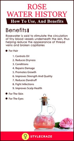 Rose Water: History, How To Use and Benefits Rose Water or more often known as 'Gulab Jal' is a by-product of the production of rose oil. Read this article to know more rose water benefits. Rose Water Hair, Rose Water For Skin, Beauty Tips For Face, Health And Beauty Tips, Health Tips, Face Tips, Healthy Beauty, Beauty Care, Beauty Skin