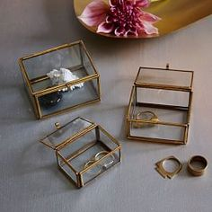Nesting Glass Shadow Boxes - Rectangle (Set of 3)