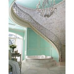 love the idea of a stairway leading to a bathroom or away from it    Maybe a good idea for a loft that leads to a balcony