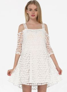 Белое+вышитое+кружевное+платье+с+открытыми+плечами+US$25.11