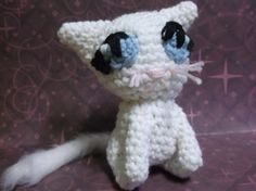 White cat amigurumi crochet cat girl cat ready to by SalemsShop