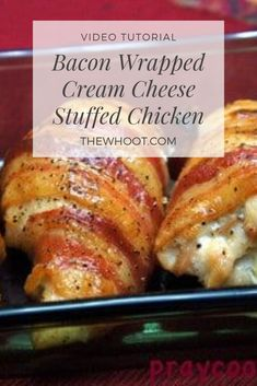 This Bacon Wrapped Cream Cheese Chicken is a taste sensation. It's one of our most favourited recipes and it is quick, easy and delicious. Bacon Recipes, Easy Chicken Recipes, Cooking Recipes, Game Recipes, Chicken Ideas, Turkey Recipes, Cheese Stuffed Chicken, Cream Cheese Chicken, Bacon Wrapped Chicken