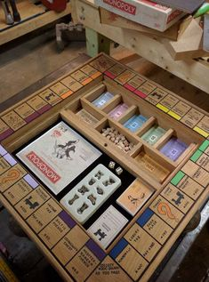 21 Interesting Ideas for a Playroom - Justin Serra - A for Ideas Interesting Ideas for a Playroom - Justin Serra - A for Ideas Interesting Justin Woodworking Plans and Tools Wooden Board Games, Board Game Table, Wood Games, Table Games, Monopoly Board, Monopoly Game, Monopoly Crafts, Custom Monopoly, Woodworking Plans
