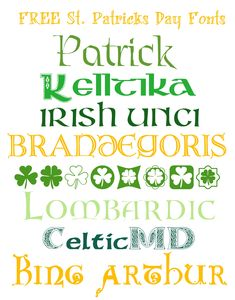 FREE Fonts for St Patricks Day  ~~ {8 free fonts w/ links}
