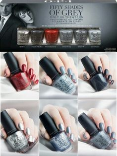 OPI FIFTY SHADES OF GREY COLLECTION – SWATCHES AND REVIEW by Temperani Nails  New collection from OPI inspired by the upcoming movie 'Fifty Shades of Grey'! Before the premiere, OPI releases a collection inspired by the film, five gray polishes that represents Mr. Grey and one red polish that represents Anastasia Steele. These will be available in stores in January!  http://temperaninails.com/2014/11/29/opi-fifty-shades-of-grey-collection-swatches-and-review/