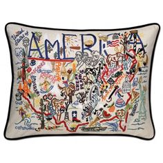 Shop a great selection of Catstudio America Throw Pillow - Hand-Embroidered Decorative - Unique, 18 x 24 . Find new offer and Similar products for Catstudio America Throw Pillow - Hand-Embroidered Decorative - Unique, 18 x 24 . Home Design, America And Canada, Vintage Embroidery, Hand Embroidery, Decoration, Country, Decorative Throw Pillows, Decor Pillows, Wash Pillows
