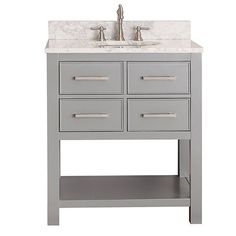 Brooks Chilled Gray 30-Inch Vanity Combo with Carrera White Marble Top