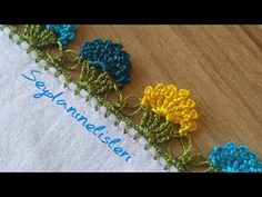 Crochet Flower Tutorial, Crochet Lace Edging, Crochet Borders, Crochet Flowers, Baby Knitting Patterns, Embroidery Stitches, Hand Embroidery, Crochet Videos, Felt Art