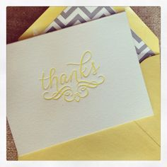 Letterpress Thank You Cards - Yellow #stationary