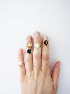 Simple modern geometric knuckle hexagon ring .Choose Your di Nuann