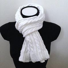 cfaca137a07a Echarpe irlandaise blanc pur à torsades en coton d Egypte Grande Echarpe,  Irlandais,