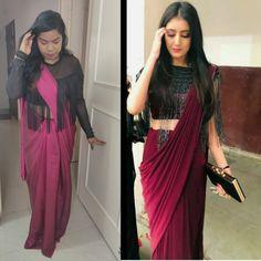 Saree Blouse, Sari, Wavy Wedding Hair, Stylish Sarees, Chubby Girl, Saree Styles, Wedding Hairstyles, Crop Tops, Outfits