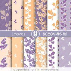Digital Paper, Purple Digital Paper Pack, Peach Scrapbooking, Leaves Digital Paper Pack,  digital backgrounds, Floral Papers -1688