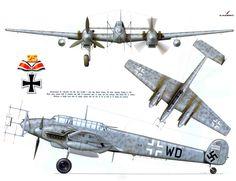 Artwork Messerschmitt Bf 110G4 Zerstorer Stab III.NJG1 (G9+WD) Martin Drewes Germany 1944