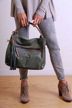 2 Handle Satchel ~ Olive