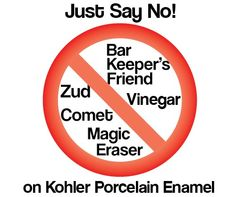 "Kohler says ""no"" to: Magic Eraser, Comet, Bar Keepers Friend, Zud, vinegar. for cleaning its porcelain enamel cast iron - Retro Renovation Bathtub Cleaner, Shower Cleaner, Bathroom Cleaners, Kohler Sink, Bathroom Sinks, Bath Tub, Bathroom Ideas, Bathrooms, Cleaning"