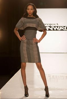 I love this kind of patchwork look! :) And it's made from an old suit!  Project Runway Season 13 Rate the Runway fäde zu grau Episode 4 Look