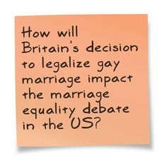 Practice question for Domestic/US Extemp: How will Britain's decision to legalize gay marriage impact the marriage equality debate in the U.S.? --- Assess recent Supreme Court decisions, the distinctions between civil unions & marriage, and more! Keep practicing those speeches! --- The best ways to get ready for tournament season: practice & work with HugSpeak! http://www.hugspeak.com/shop/public-speaking-coach-students-forensics-oratory-extemp-congress/