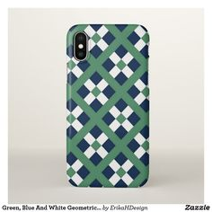 Green, Blue And White Geometric  Pattern