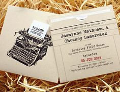 Oh, the mighty vintage typewriter. So retro and chic!! Invitation is printed digitally on 100% recycled kraft paper. A small piece of white note