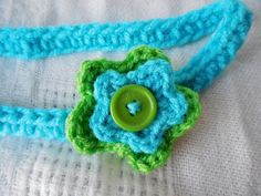 Blue and Green Crochet Baby/Toddler Flower by HookandYarnDesigns, $4.00