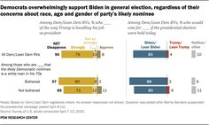Democrats overwhelmingly support Biden in general election, regardless of their concerns about race, age and gender of party's likely nominee  Source: Pew Research Center